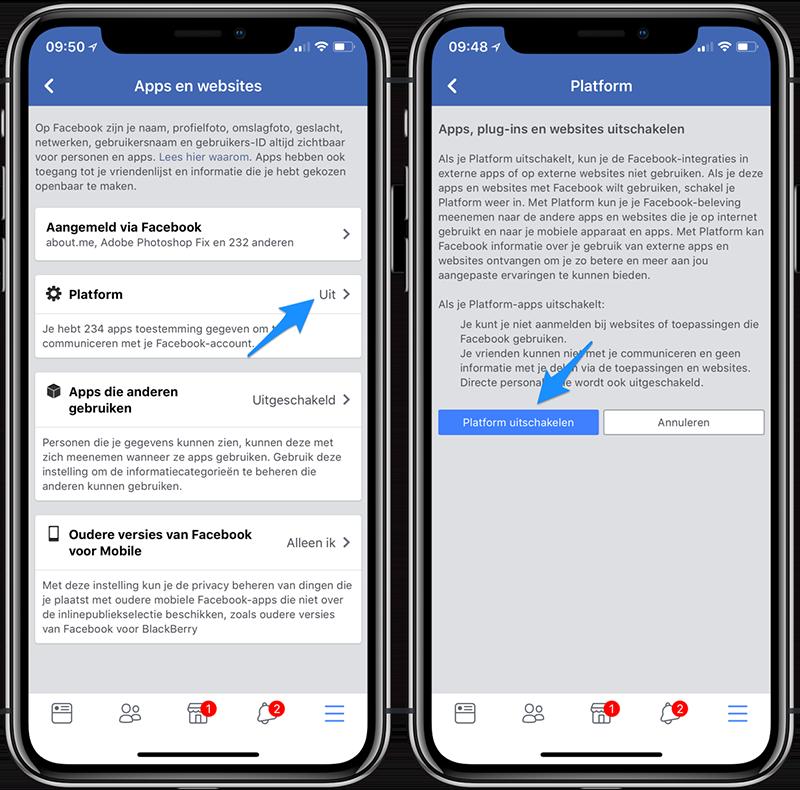 Facebook toegang uitschakelen voor platform