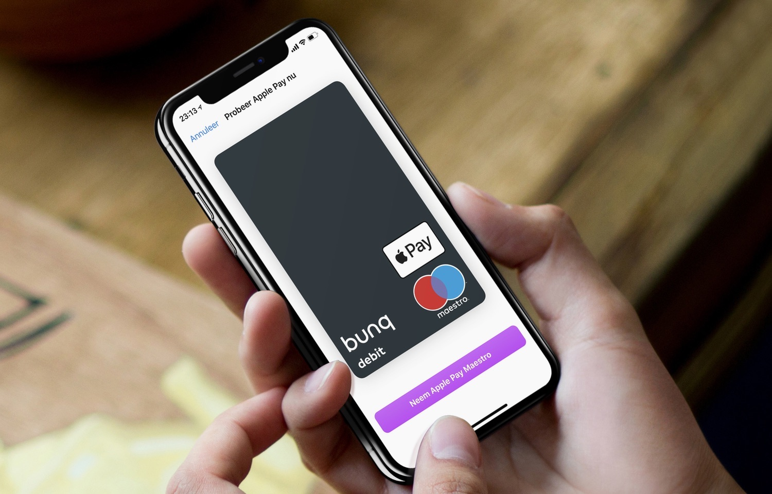 Maestro in bunq voor Apple Pay.