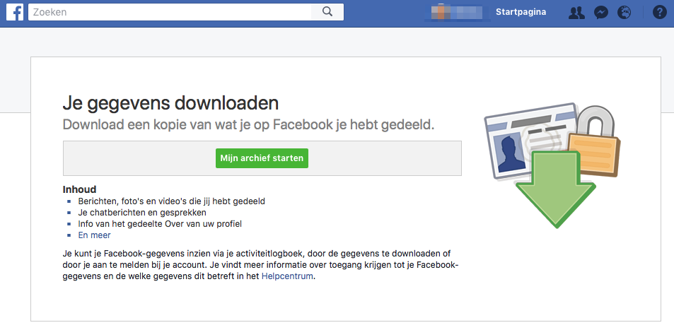 Facebook data downloaden