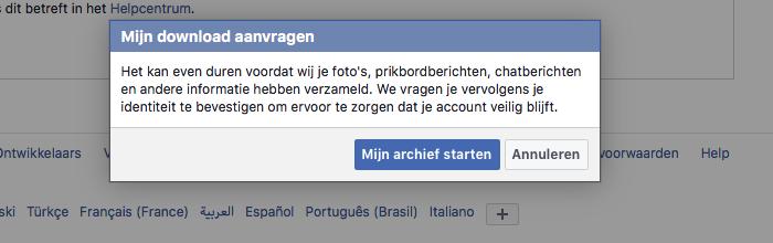 Facebook archief aanvragen