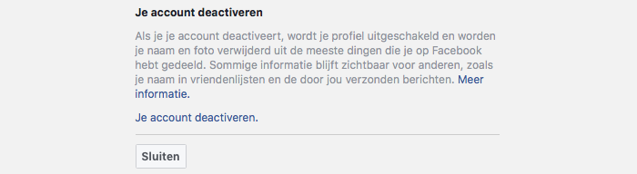 Facebook uitschakelen