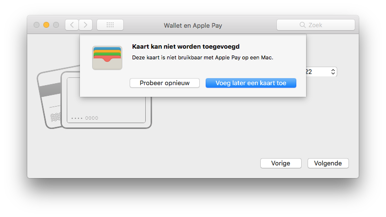 Apple Pay foutmelding op de Mac.