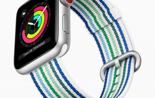 Apple Watch voorjaar 2018 bandje met streepjes in blauw en groen