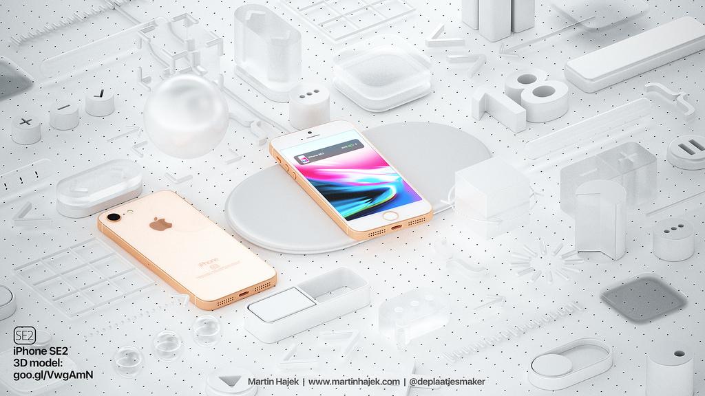 iPhone SE 2 concept met draadloos opladen.