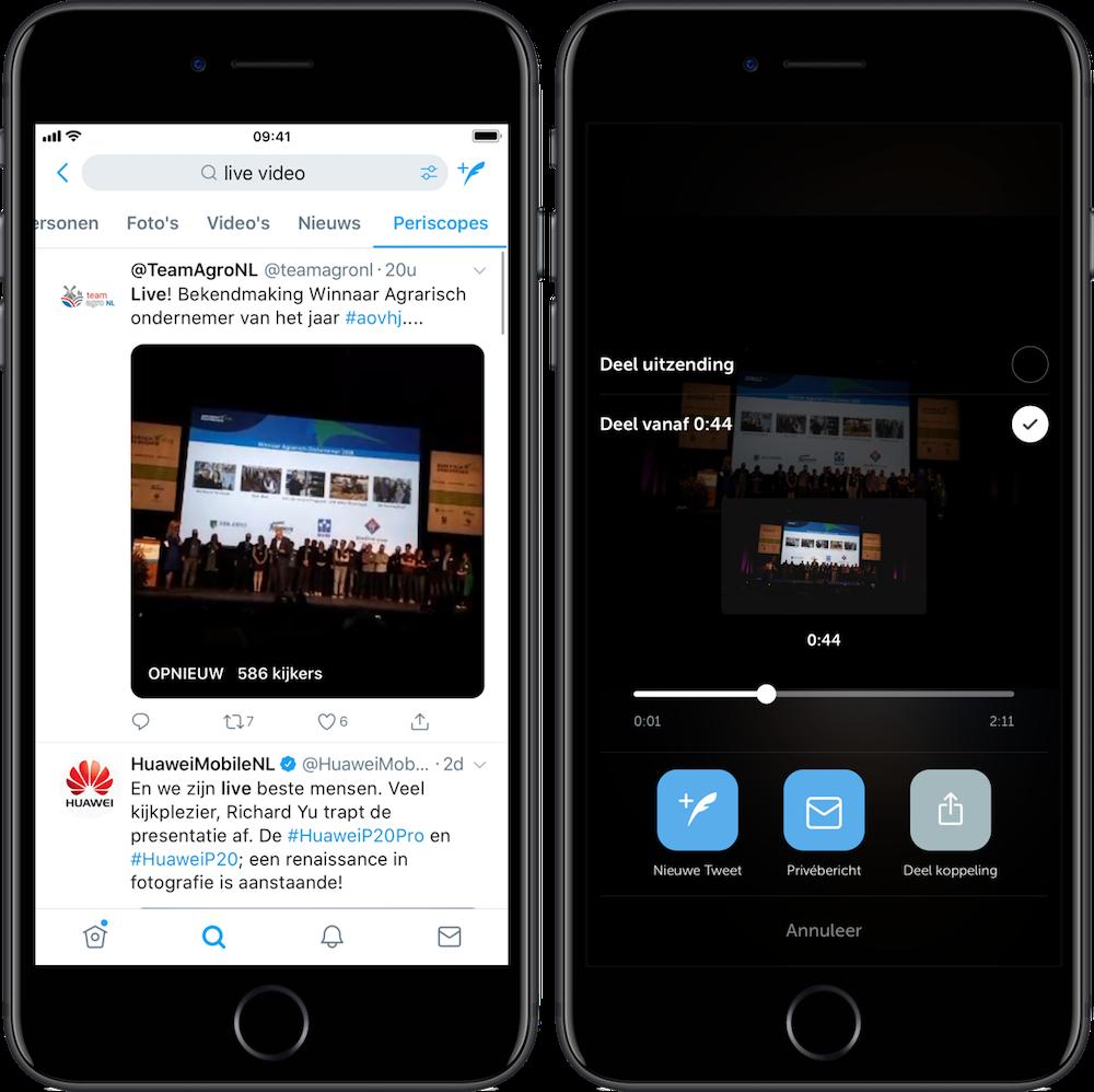 Twitter maakt het mogelijk om gedeelte van live video te delen