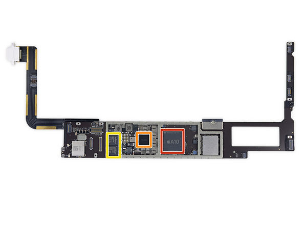Chips in iFixit teardown van de iPad 2018.