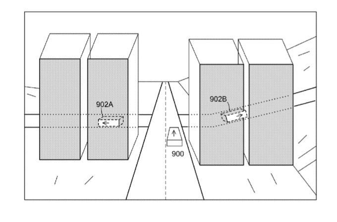 AR patent in de auto achter gebouwen.