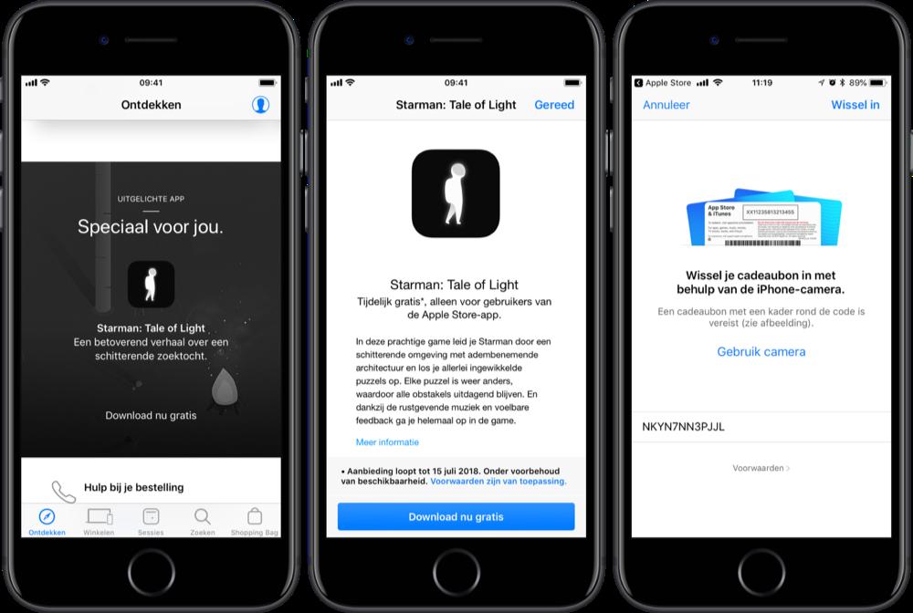 Starman gratis downloaden via Apple Store-app.