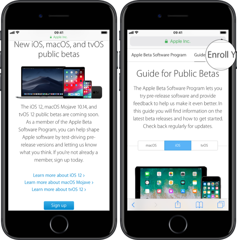 iOS publieke beta aanmelden.