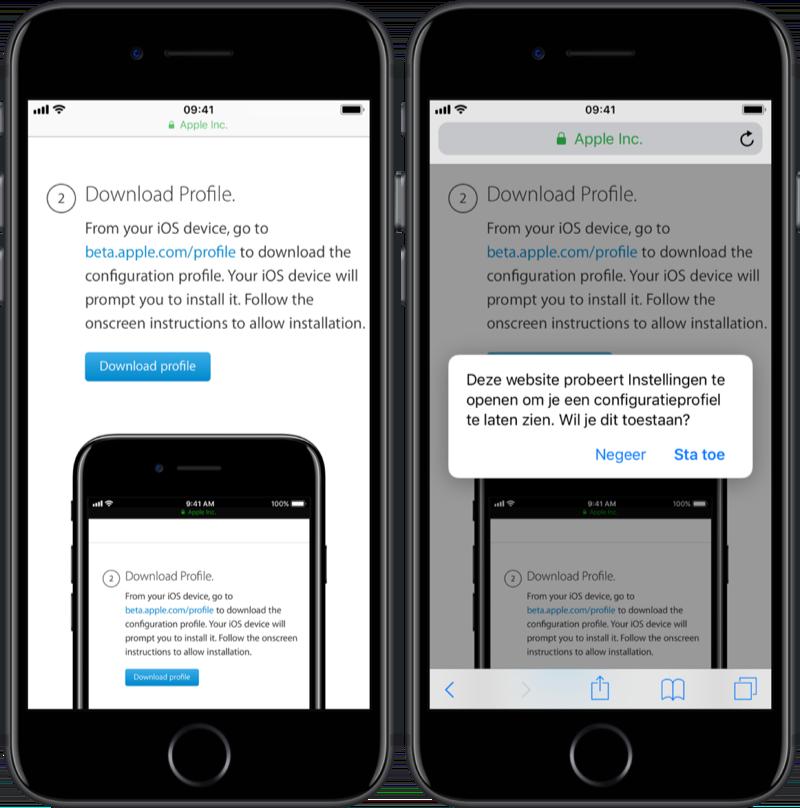 iOS publieke beta profiel installeren.