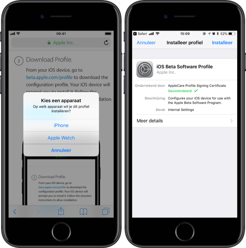 iOS beta profiel apparaat selecteren.