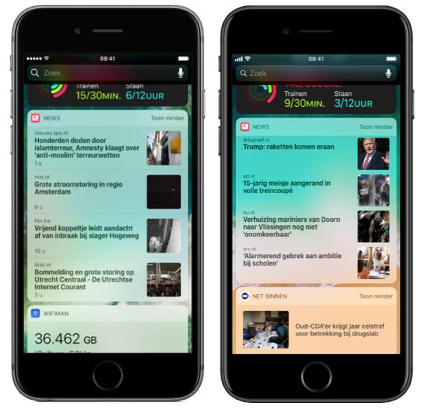 Apple News widget oud en nieuw.