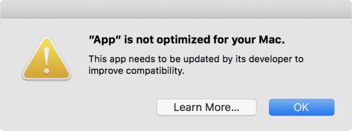 macOS High Sierra 32-bit app melding