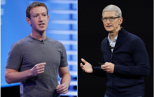 Mark Zuckerberg en Tim Cook
