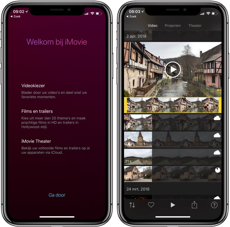 iMovie welkom op iPhone X