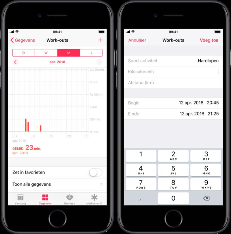 Workout toevoegen aan de Gezondheid-app.