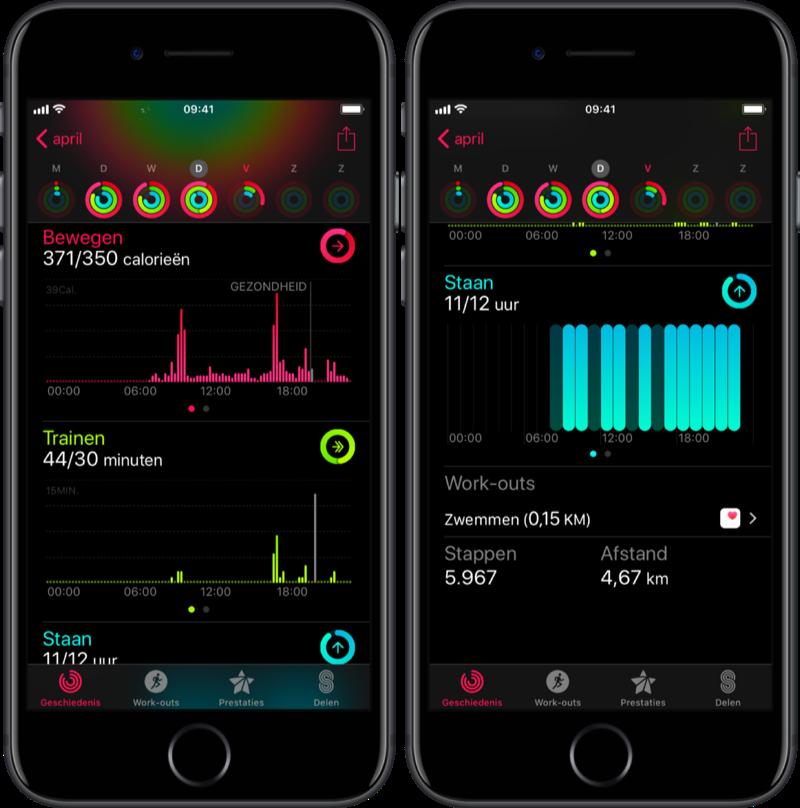 Activiteit-app met handmatige workout.