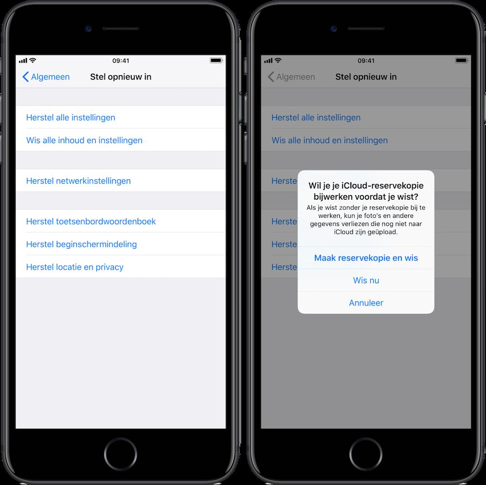 iPhone inhoud en instellingen wissen