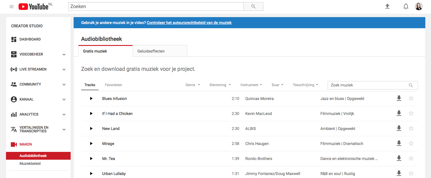 Royaltyvrije muziek downloaden van YouTube Creator Studio