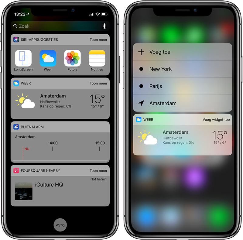 Weer-widget en 3D Touch