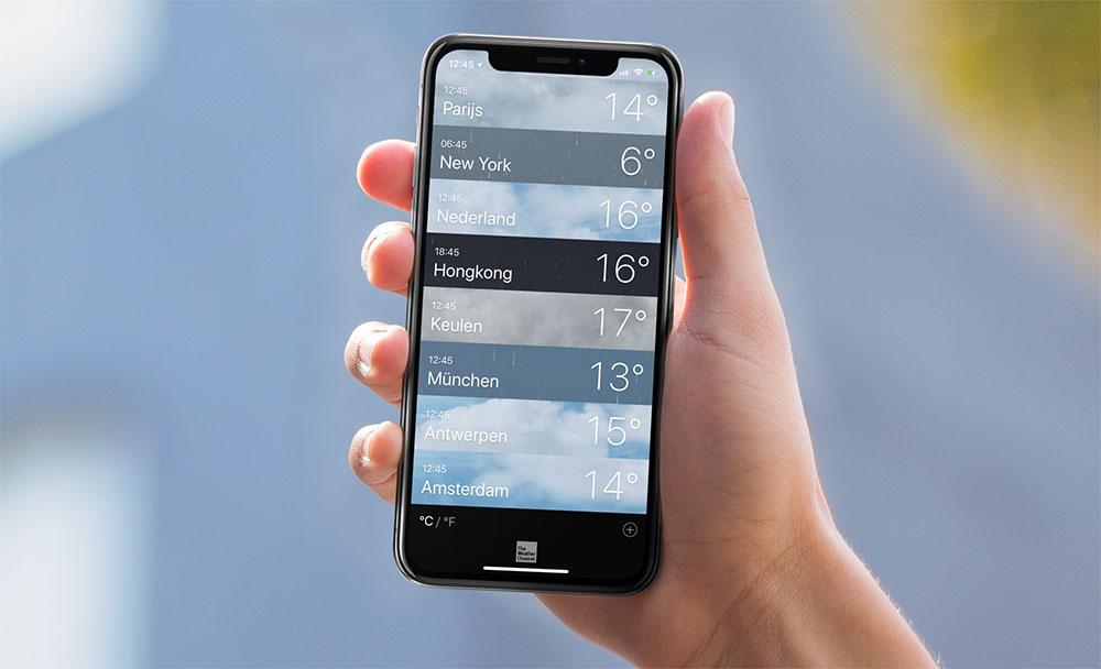 Weer-app op iPhone en iPad