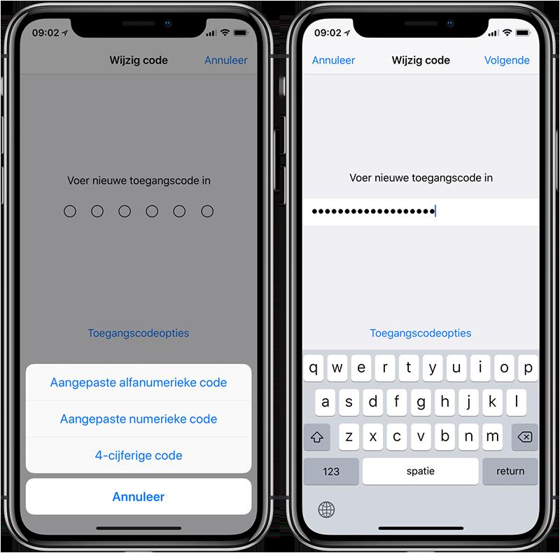 iPhone pincode instellen