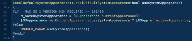 Dark mode in code van macOS