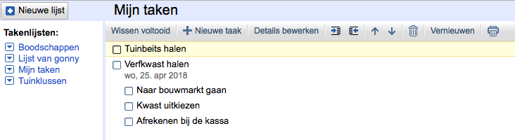 Google Tasks op de desktop