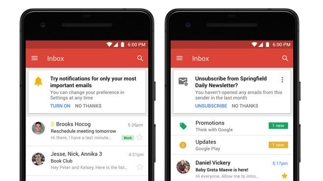 Gmail vernieuwde app