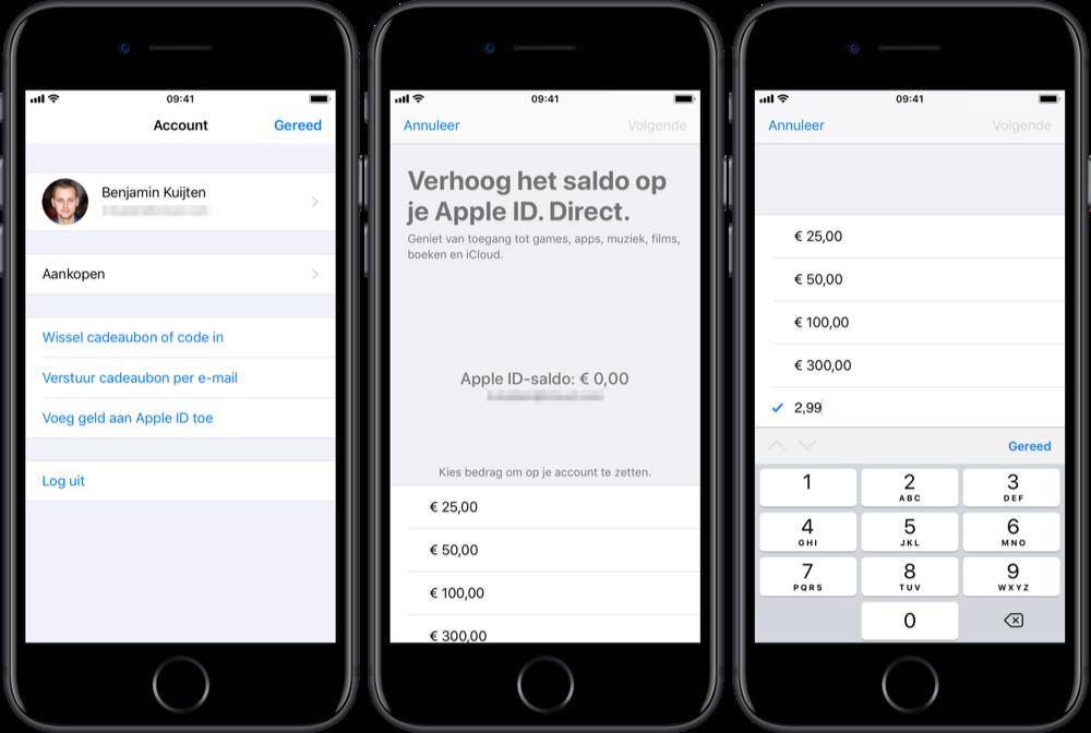 Apple ID saldo verhogen.