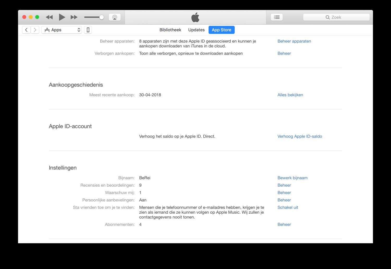 Apple ID saldo verhogen op de Mac.