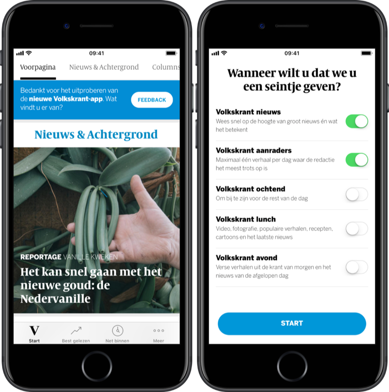 Volkskrant op de iPhone met pushinstellingen.