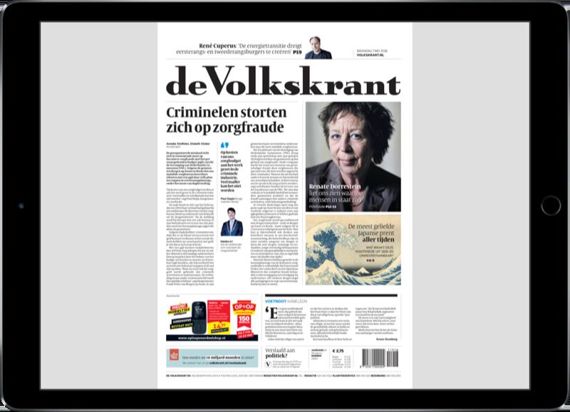Volkskrant op de iPad met krant-versie.