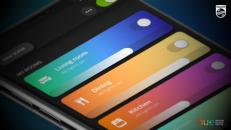 Philips Hue-app update met kamers.