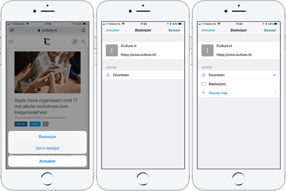 Safari Bladwijzer toevoegen op iPhone