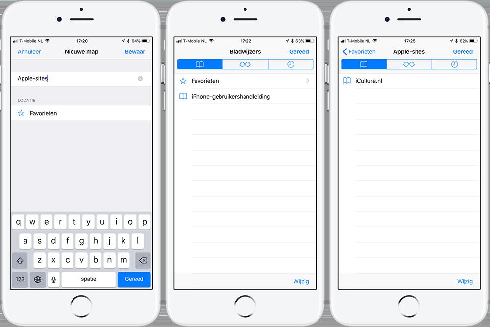 Safari Bladwijzer toevoegen en mappen maken op iPhone
