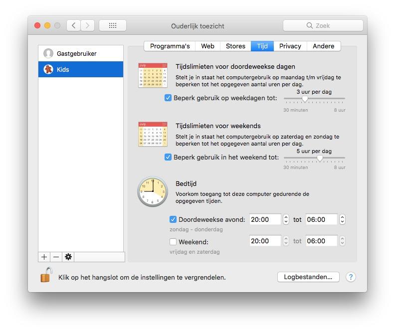 Tijd ouderlijk toezicht Mac delen