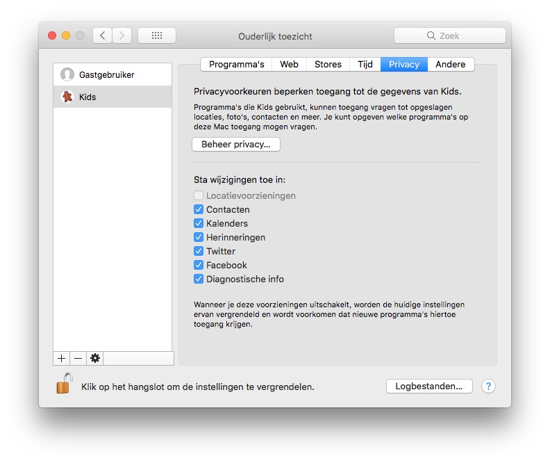 Privacy ouderlijk toezicht Mac delen met kinderen