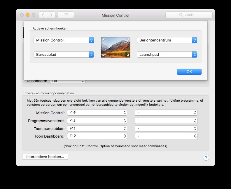 Interactieve hoeken op de Mac instellen.