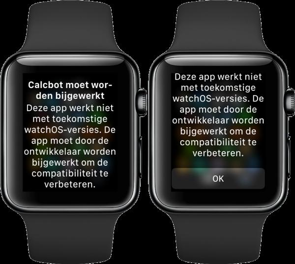 watchOS 4.3.1 melding van oude app.
