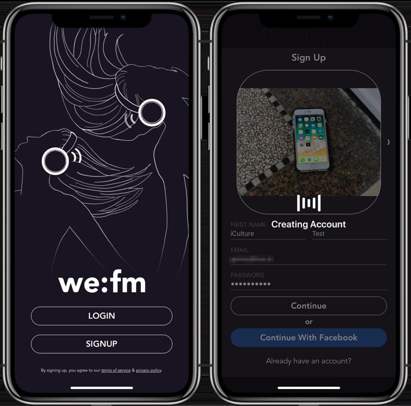 We:fm app: account aanmaken