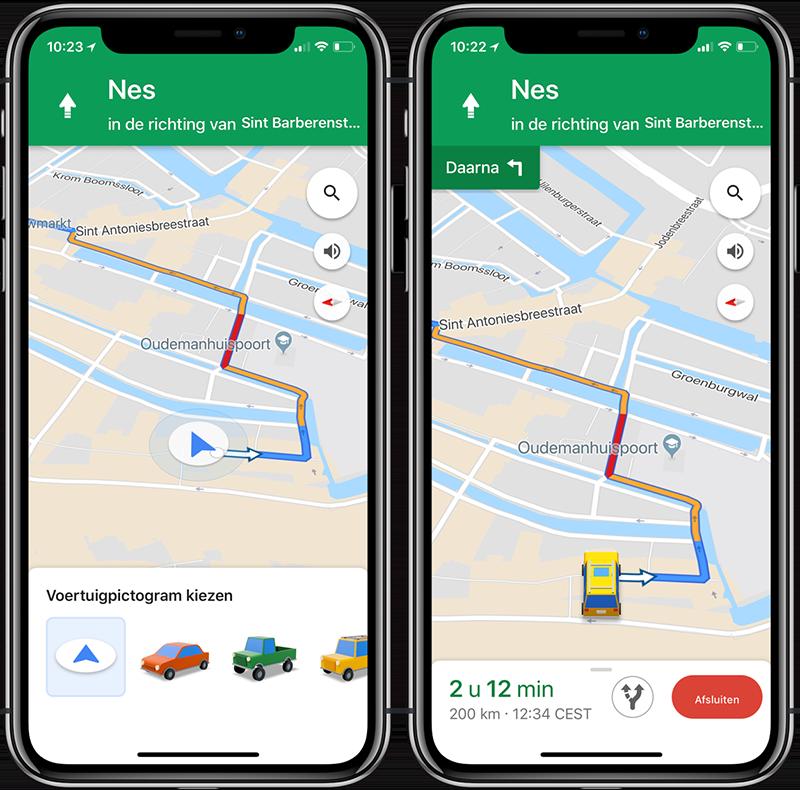 Google Maps voertuigicoon