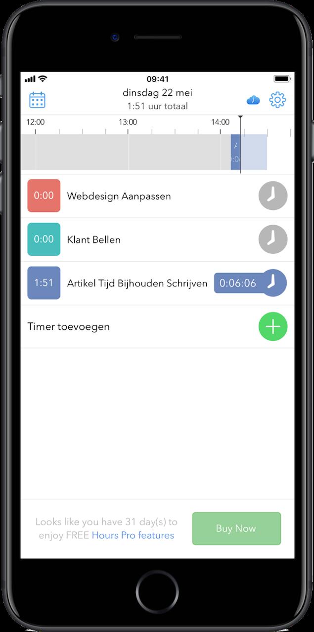 Tijd bijhouden met apps Hours