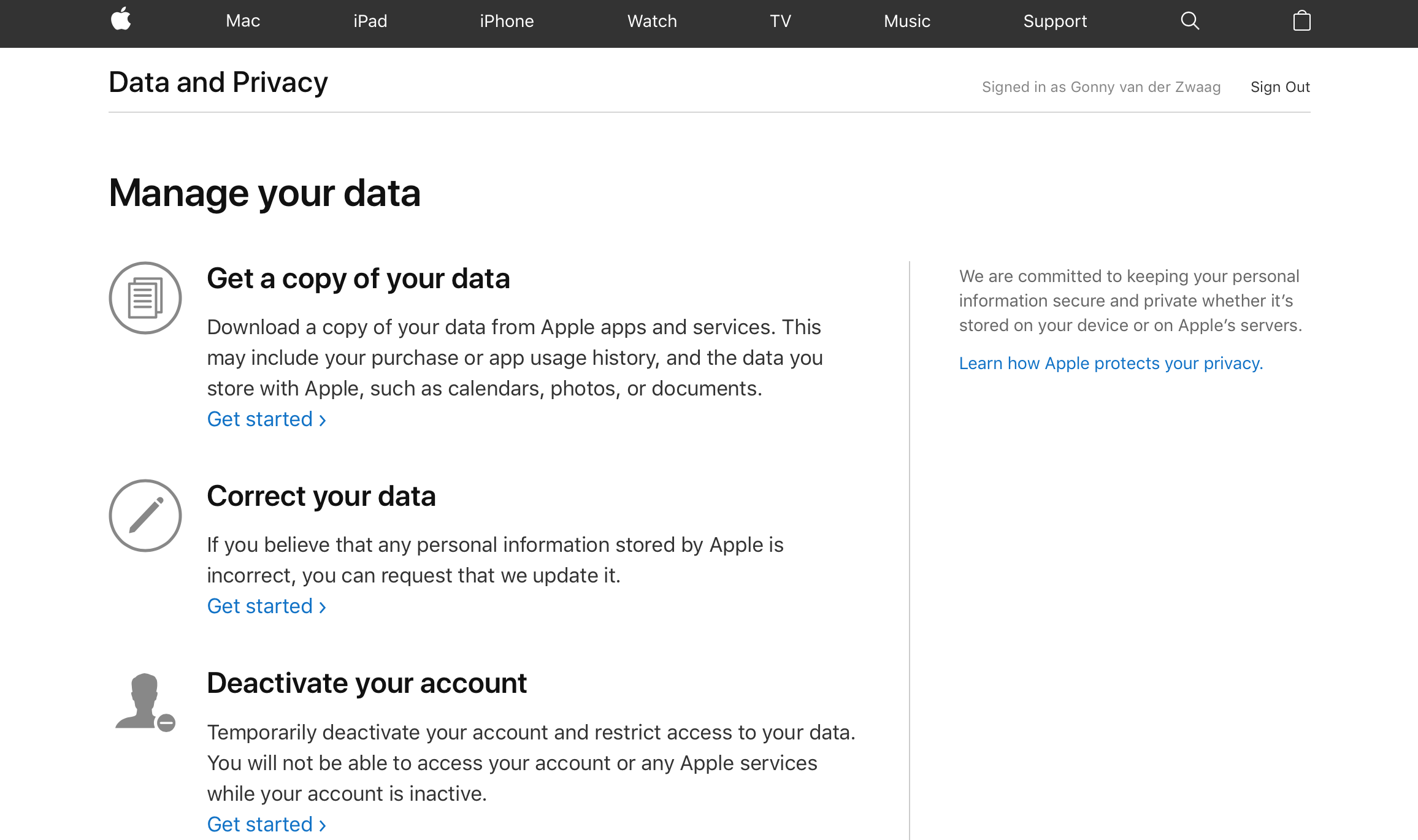 Apple data opvragen: data downloaden