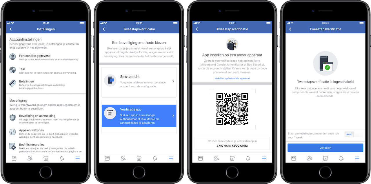 Facebook tweestapsverificatie via app