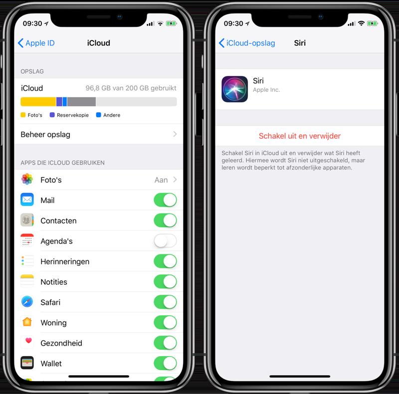 Siri-data uit iCloud verwijderen