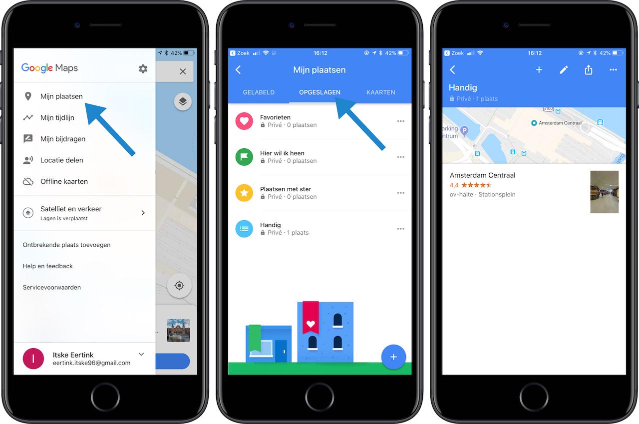 Lijsten maken in Google Maps