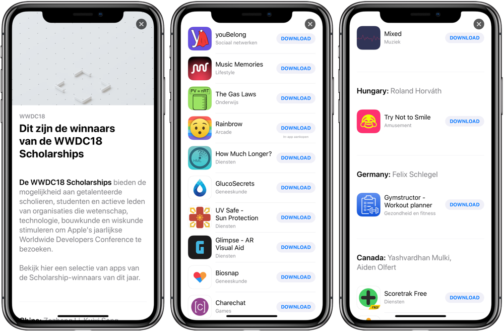 WWDC 2018 studenten-apps