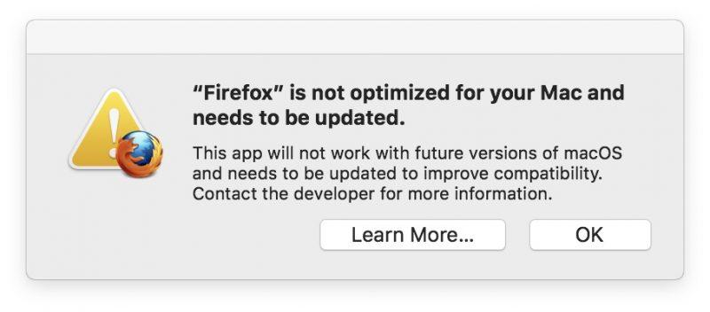 32 bit apps waarschuwing macOS Mojave