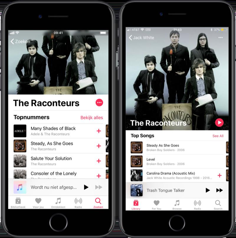Apple Music artiestenpagina in iOS 12.